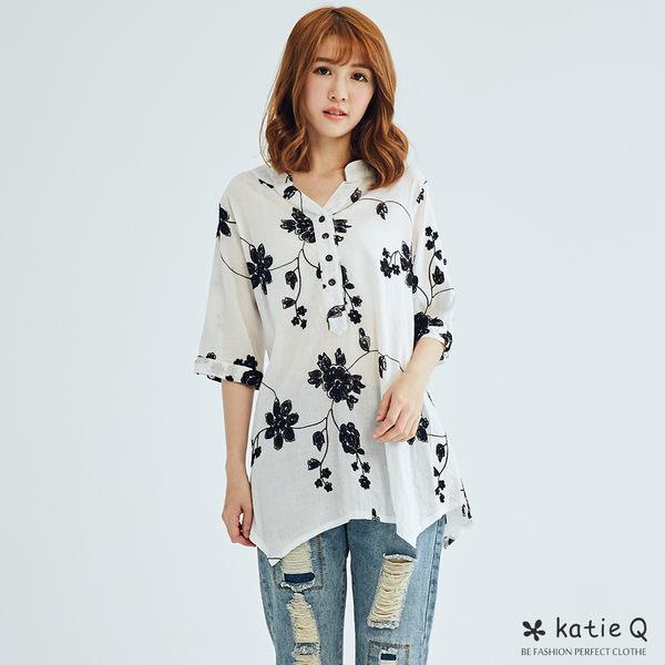 立體繡線花朵寬上衣(白色)-M-XL-KatieQ