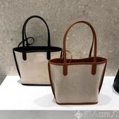 韓國ins2020新款拼接麻料手拎女包子母包手提斜背敞口女包購物袋 新品上新