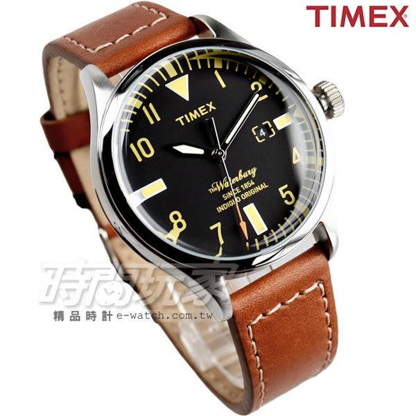 TIMEX 天美時 冷光照明 超質感時尚簡約腕錶 真皮錶帶 男錶 咖啡x黑 TXT2P84000