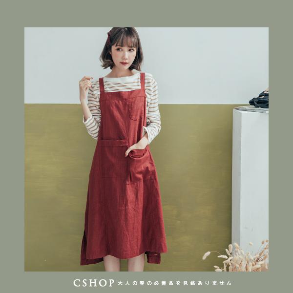 吊帶裙 口袋後抽繩麻料吊帶裙 六色-小C館日系