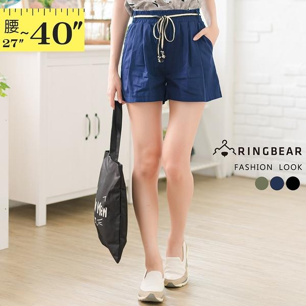 短褲--夏日休閒鬆緊褲頭斜插口袋附撞色綁繩素面寬鬆褲裙(黑.藍.綠L-6L)-R238眼圈熊中大尺碼