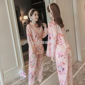 睡衣  睡衣女純棉長袖套裝韓版清新學生甜美和服家居服  瑪奇哈朵