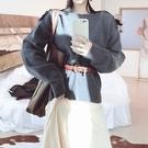 毛衣-兔毛一字領純色寬鬆顯瘦女針織衫4色73uc37【巴黎精品】