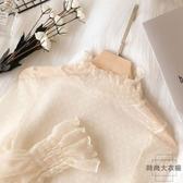 喇叭袖網紗上衣鏤空蕾絲衫打底衫寬松上衣女【時尚大衣櫥】