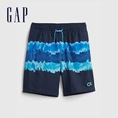 Gap男童 彈力直筒運動短褲 682044-藍色紮染