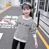 黑五好物節❤女童t恤秋裝2018新款長袖中大童薄款純棉寬鬆洋氣韓版蕾絲袖上衣