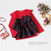 純棉 韓版蝴蝶結格紋毛呢花邊袖長袖上衣 秋冬 保暖 氣質 格紋 女童 過年 新年 紅色 拜年