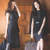 中大尺碼 OL套裝 2018新款時尚名媛氣質無袖兩件式職業裝女 GY1049『伊人雅舍』