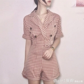 夏季女裝新款復古格子西裝翻領高腰闊腿連體短褲韓版chic風休閒褲 俏girl