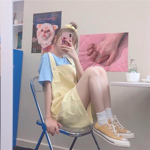 吊帶褲 宋黛可愛牛仔背帶五分短褲女2021夏新款韓版寬鬆顯瘦學院風吊帶褲
