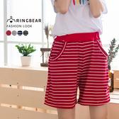 寬褲--俏皮舒適橫條紋彈性褲頭棉質中腰寬口鬆緊五分褲(黑.灰.紅.藍M-L)-R69眼圈熊中大尺碼