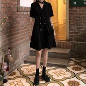 西裝連身裙大碼女裝夏季法式小眾復古裙子女赫本風小黑裙胖MM心機西裝連身裙 衣間迷你屋