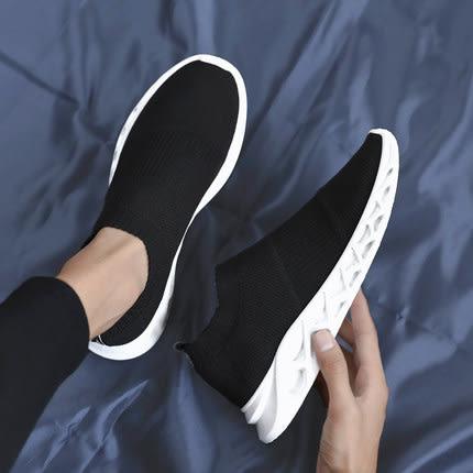 休閒鞋 韓版潮流飛織潮鞋男士休閒鞋男生時尚板鞋2019春季新款一腳蹬男鞋 3色39-44