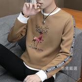 新品男士長袖t恤圓領加厚秋冬上衣服青年帥氣潮流衛衣刷毛打底衫