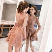 韓版小個子女裝收腰顯瘦裙子蝴蝶結V領條紋連身裙