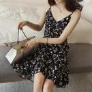 2021夏季新款韓版碎花雪紡吊帶裙女寬鬆中長款v領荷葉邊連身裙子 快速出貨