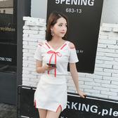 出清388 韓國風休閒兩穿露肩性感蝴蝶結套裝短袖裙裝