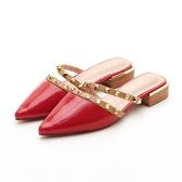 MICHELLE PARK 水果調酒 法式尖頭漆皮雙排鉚釘拖鞋-紅
