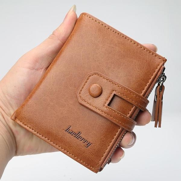 男款錢包 短夾復古時尚錢包男士短款錢包韓版拉鍊多功能錢夾大容量多卡位零錢包