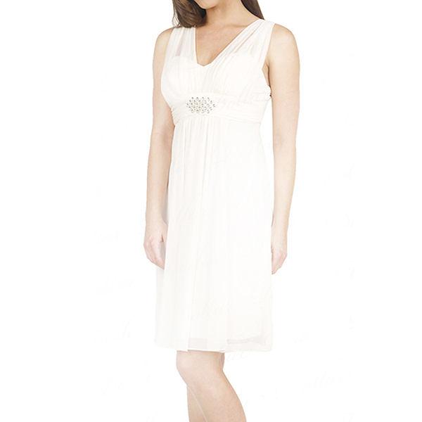 『摩達客』美國進口Landmark 皇家V領浪漫優雅白色及膝紗裙派對小禮服(含禮盒/附絲巾)(1831395022)
