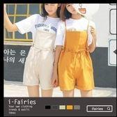 現貨+快速★棉麻綁帶帶縮腰連身褲短褲★ifairies【43682】