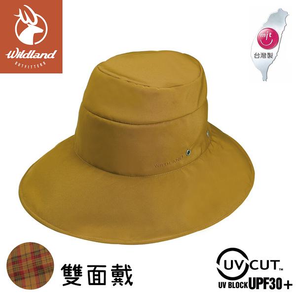 【Wildland 荒野 中性 抗UV雙面戴遮陽帽《駱黃》】W1016/休閒帽/圓盤帽/釣魚/防曬/登山/園藝