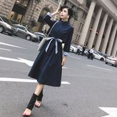 VK精品服飾 韓國風優雅名媛風衣拼接收腰薄款長袖洋裝