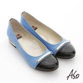 A.S.O 俐落職場 全真皮菱格細金屬飾窩心跟鞋 藍