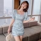 VK精品服飾 韓系優雅名媛變色燈籠袖復古方領短袖洋裝