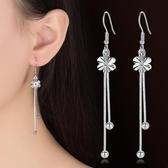 耳環花朵流蘇中長款簡約 鍍銀耳飾品菱光梅花耳墜女《小師妹》ps331