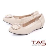 TAS 金屬飾釦綿羊皮內增高娃娃鞋 米