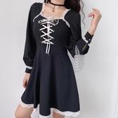 法式洋裝宮廷風復古蕾絲邊方領胸前交叉綁帶連身裙女街拍高腰顯瘦小黑裙潮 衣間迷你屋