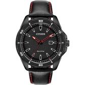 CITIZEN 星辰 光動能運動風手錶-黑x紅指針/45mm AW1585-04E