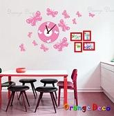 壁貼【橘果設計】蝴蝶 靜音壁貼時鐘 不傷牆設計 牆貼 壁紙裝潢