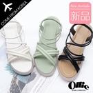 韓國Ollie 韓國空運 交叉粗帶設計 舒適柔軟鞋墊 鬆緊帶涼拖鞋【F720758】版型偏小/SD韓美鞋