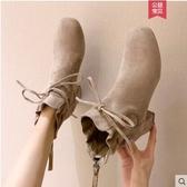 短靴女靴子秋冬新款百搭馬丁靴英倫風粗跟高跟鞋加絨女鞋 瑪麗蘇