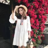 孕婦夏裝洋裝時尚韓版新款上衣中長款寬鬆雪紡夏季孕婦裙子  全館免運