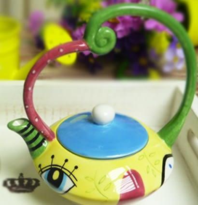 [協貿國際]  純手工繪製陶瓷花茶壺