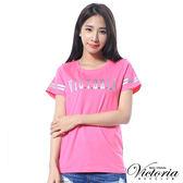 Victoria LOGO貼片袖印條短袖T-女-桃紅