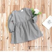 純棉 森林系千鳥格紋連身長袖洋裝 日系 棉麻 薄款 連衣裙 秋冬 氣質 女童洋裝 哎北比童裝