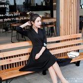 洋裝 V領黑色連身裙女赫本小黑裙中長裙