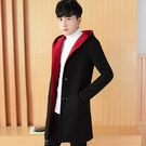 男生外套 秋冬新款中長款毛呢小風衣男士修身加絨加厚呢子大衣西裝英倫外套『極致男人』