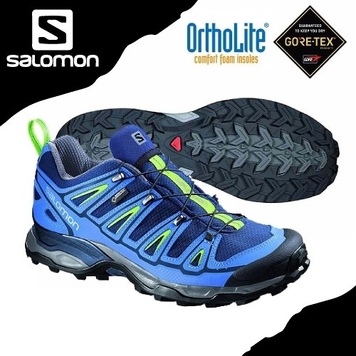 【SALOMON 索羅門 男 X ULTRA 2 GORE-TEX低筒登山鞋《藍/綠》】381636/健行鞋/郊山鞋/防水越野鞋