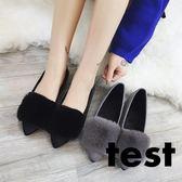 毛毛鞋 女韓版平底尖頭豆豆瓢鞋奶奶鞋 艾米潮品館