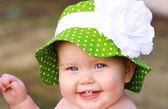 嬰幼兒防曬遮陽帽: 玫瑰: 碧綠點點: FTH-05