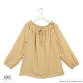 【INI】自在造型、綁繩領設計青春甜美上衣.黃色