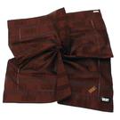 DKNY純棉縷空繡線LOGO條紋帕領巾(巧克力色)989086