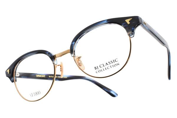 BJ CLASSIC 光學眼鏡 S84111 C01 (琥珀藍-金) 經典LOGO眉框款 日本手工眼鏡 # 金橘眼鏡