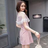 洋裝0863#復古小香風蕾絲透視小心機格子顯瘦女連身裙GT2F-233-A紅粉佳人