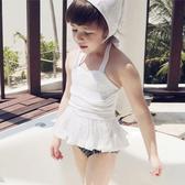 甜美 百褶 蓬蓬裙 兩件套 繞頸 兒童泳裝